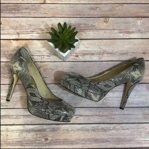 Michael Kors Leather Snakeprint Platform Heels